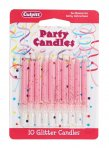 Pale Pink Glitter Candle Pack of 100