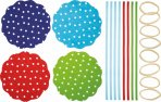 Home Made Fabric Jar Cover Kit 8pc - Spot Design 16cm