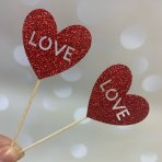 Glitter Card Cupcake Toppers - Red Love Heart x 6