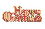 Plastic Happy Christmas Red/Gold Coloured Motto