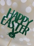 Happy Easter Glitter Card Cake Topper - Green
