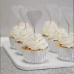 Ginger Ray Cupcake Picks - Silver Hearts