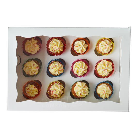 White 12 Hole Mini Cupcake Box