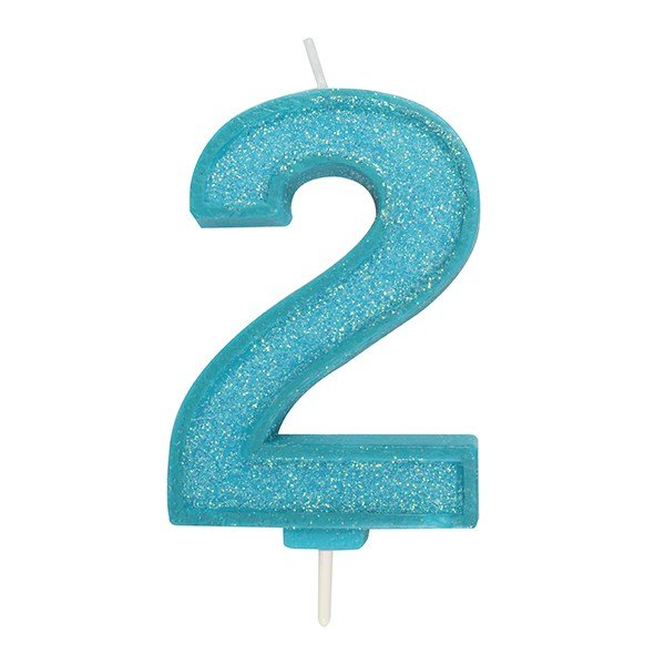 Blue Sparkle Numeral Candle 2