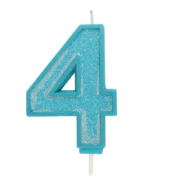Blue Sparkle Numeral Candle 4