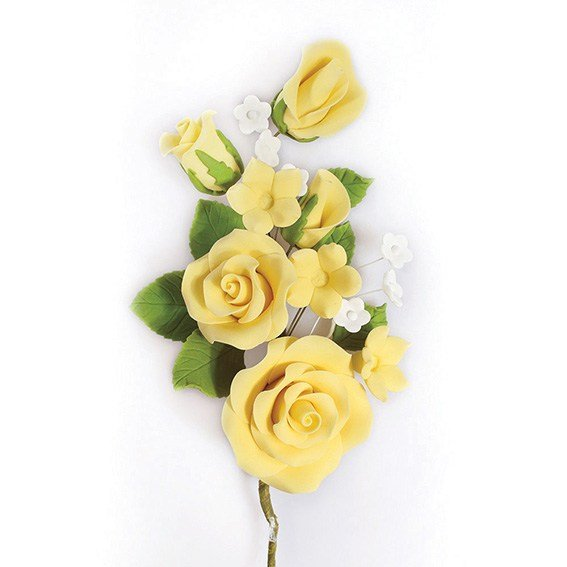 Gumpaste Yellow Rose Spray