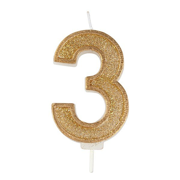 Gold Glitter Number Candle - 3