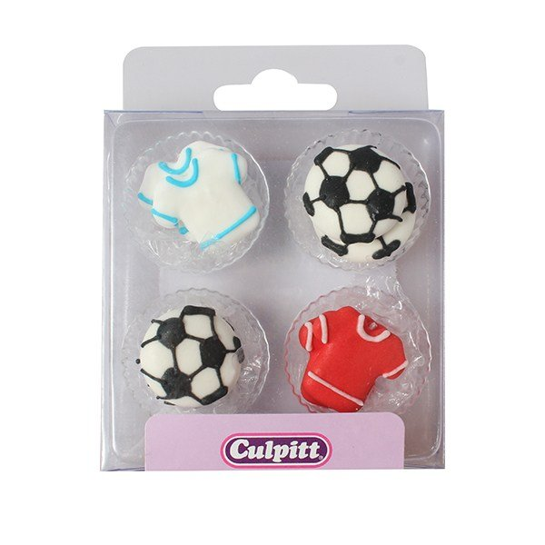 Football and Shirt Sugar Piping Toppers Pack of 12