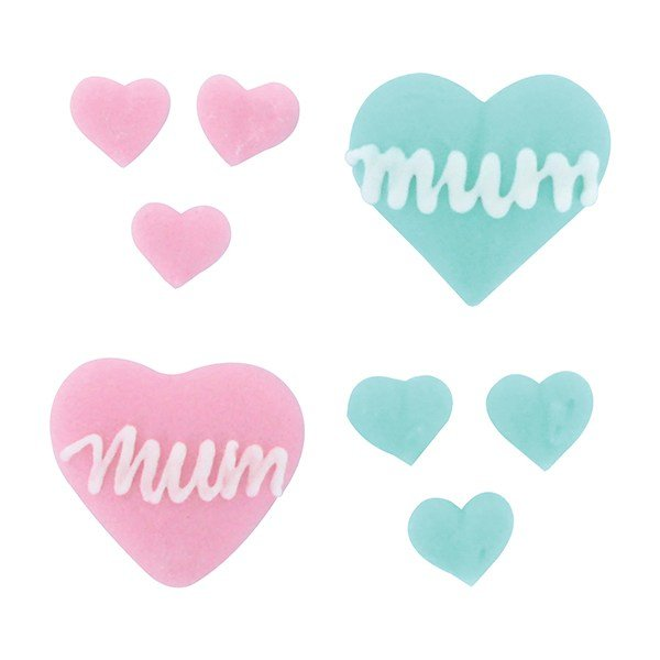 Mothers Day Cupcake Decorations - Mum with Hearts