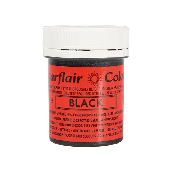 Sugarflair Edible Glitter Paint - Black- 35g
