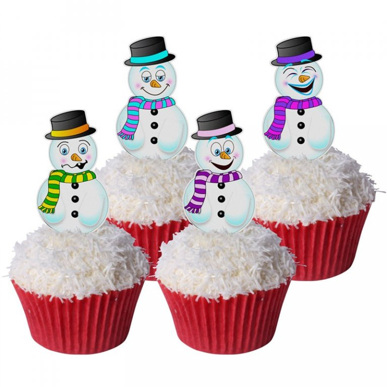 Edible Wafer Toppers - Assorted Snowmen - Pack of 12
