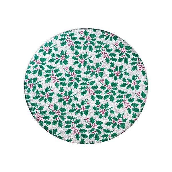 12 Inch Round Christmas Cake Board Holly Design