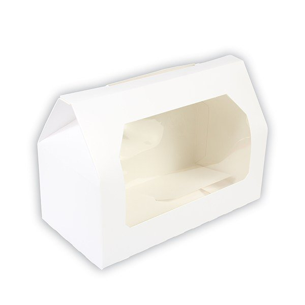 Two Hole White Cupcake Box with Clear Window