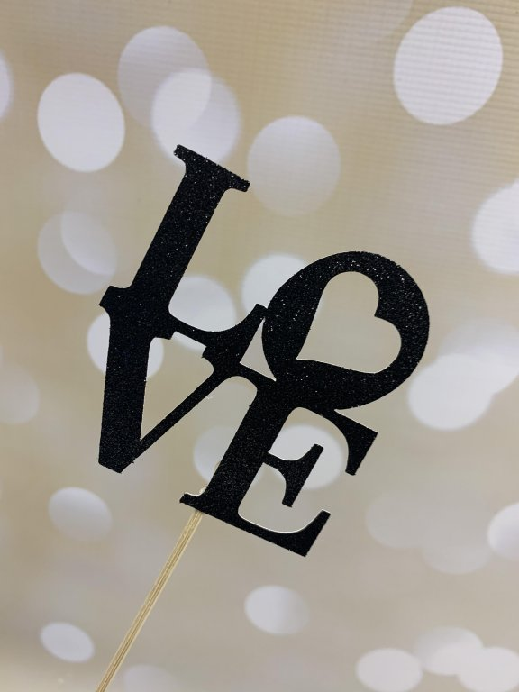Glitter Card Cake Topper - LOVE