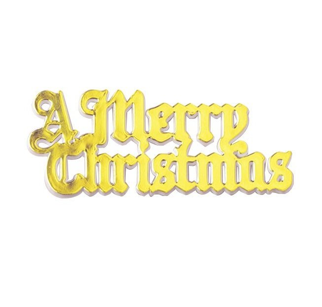Plastic A Merry Christmas Gold Coloured Motto