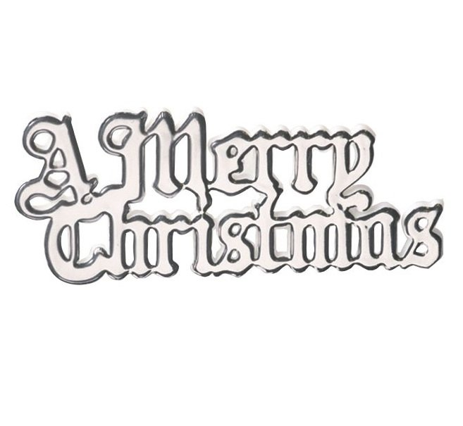 Plastic A Merry Christmas Silver Coloured Motto