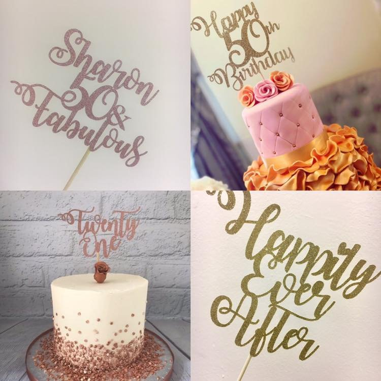 Personalised Glitter Card Cake Topper