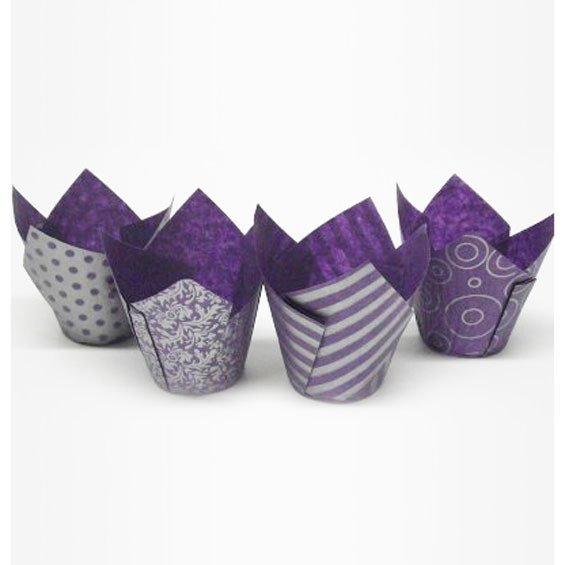 Purple and Silver Design Tulip Wraps Pack of 50